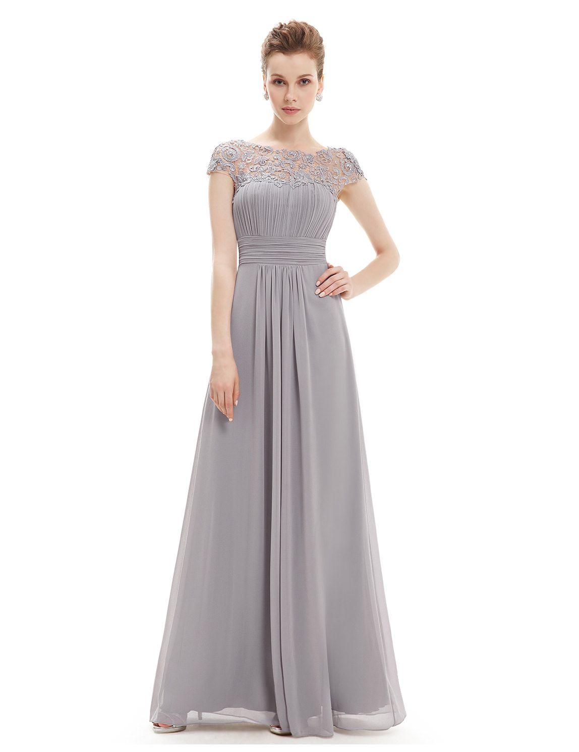 Elegantes langes Chiffon Abendkleid in Grau  Abendkleid