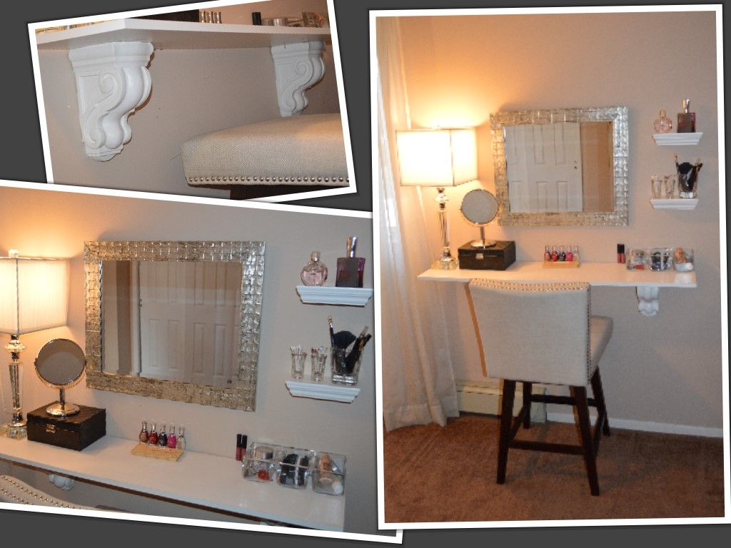 Diy Makeup Vanity Find Some Decorative Shelf Mounting A Mirror Some Glassware For Your Favorites The Stool Is Diy Vanity Mirror Vanity Shelves Diy Vanity
