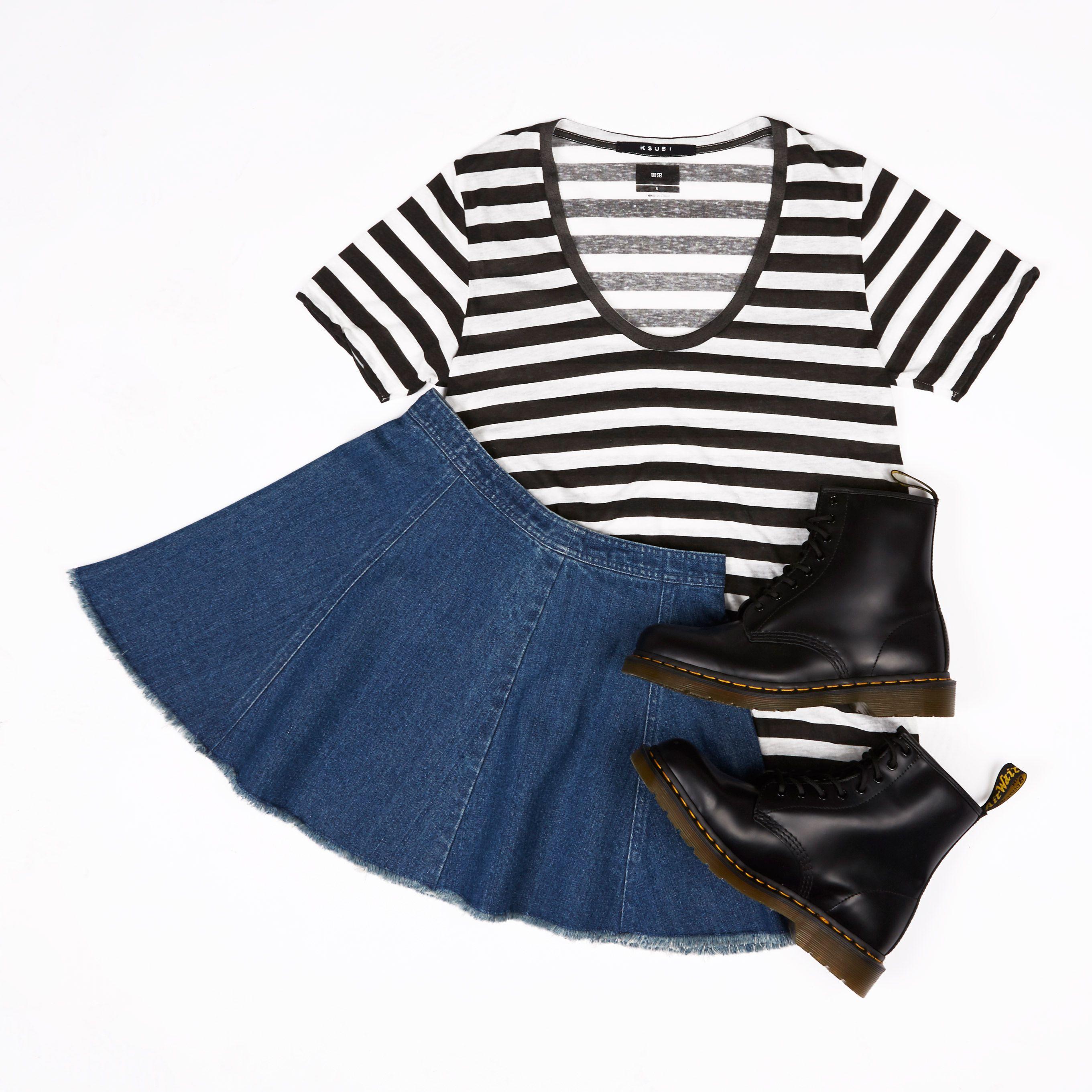 Raw edges are in. Get frayed. #dontaskamanda #chambrayskirt #denimskirt #flatlay #ladiesfashion #streetwear #drmartens #ksubi #generalpants