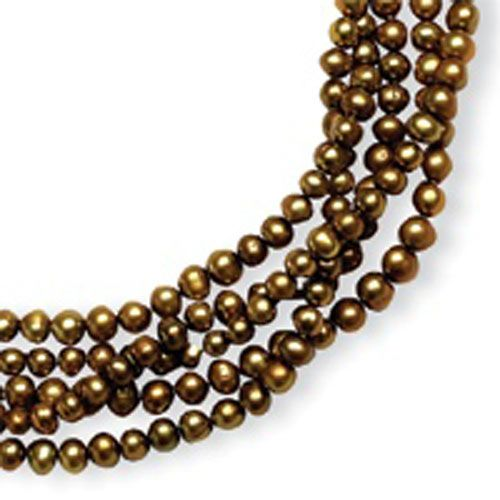 Gold Freshwater 5.5-6mm Cultured Pearls 100 '' Single Strand