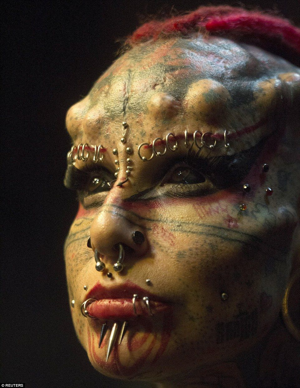 Big change:Maria Cristerna, dubbed The Vampire Lady, was born in a deeply religious family in Guadalajara, Mexico