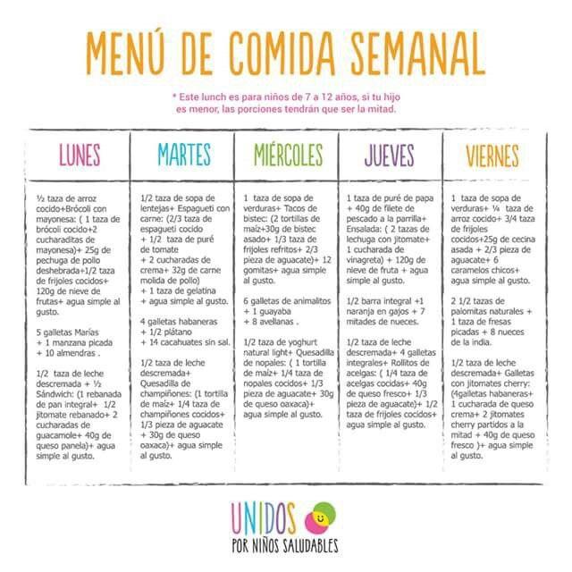dietas para niños de 6 a 12 años chile