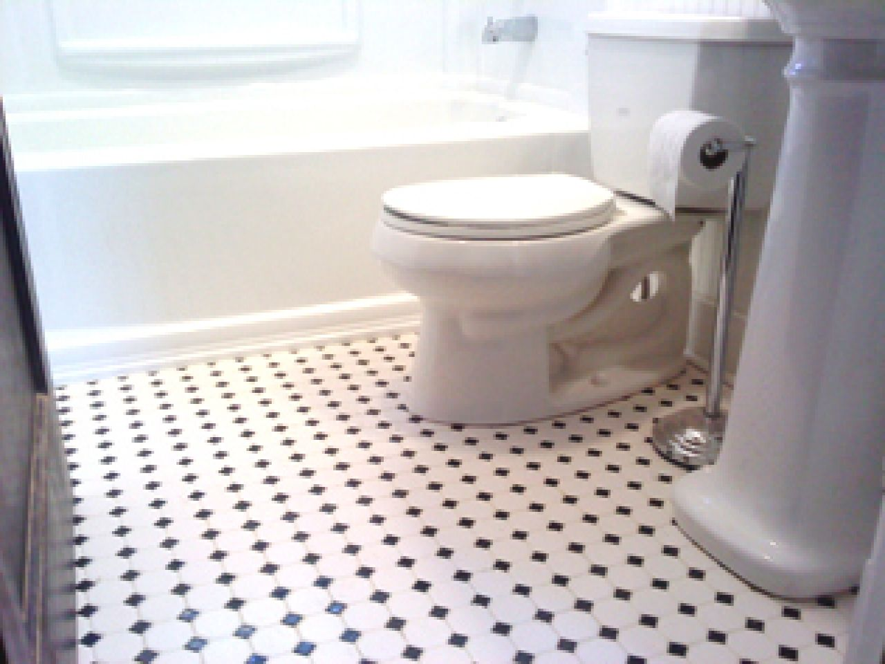Black and white bathroom floor cabinliving pinterest classic small black and white tile bathroom floor dailygadgetfo Image collections