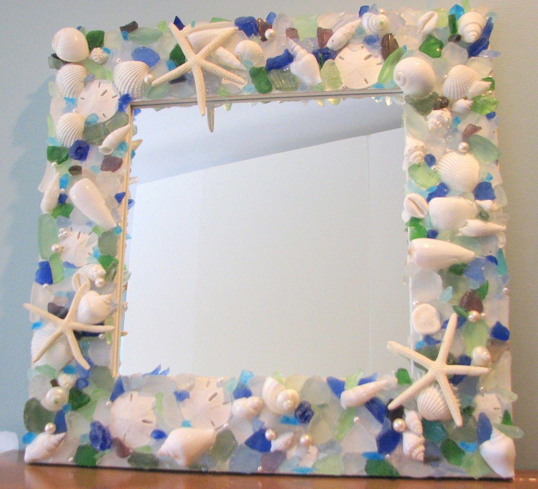Badezimmer dekor strand thema bgc new sea glass mirror mixed   mosaik  pinterest  mosaik