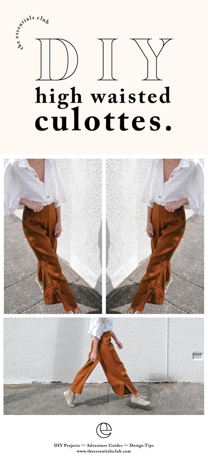 DIY linen high waisted culottes