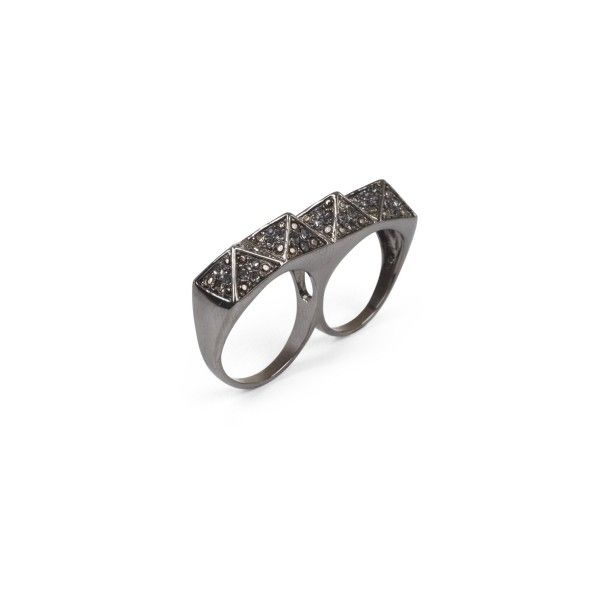 Pyramid Two-Finger Ring ($17) ❤ liked on Polyvore