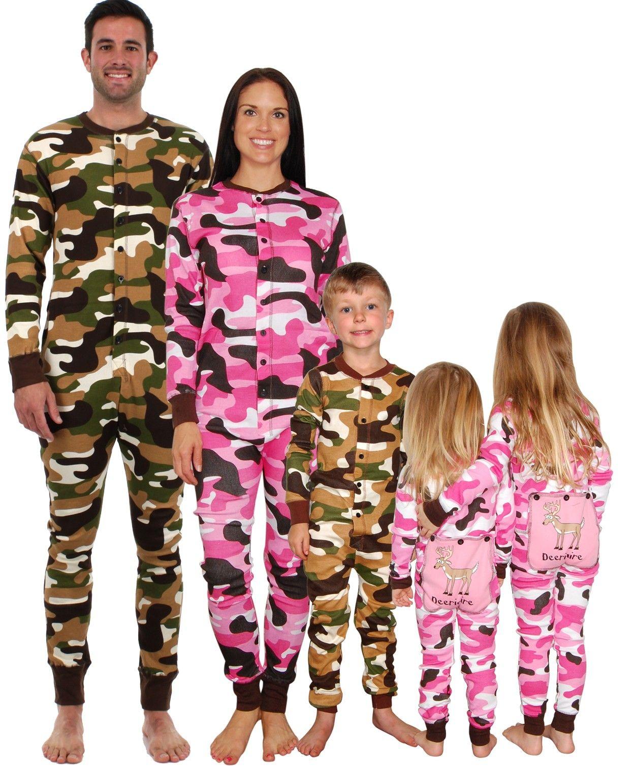 Lazy One Toddler Pink Camo Flapjack Long John Deeriaire Long Sleeve Pajamas New