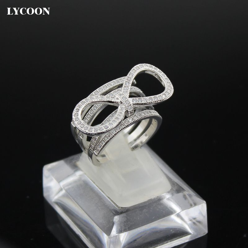 LYCOON Newest fashion tie knot design women finger rings silver plated prong setting AAA Cubic Zirconia clear crystal Rings