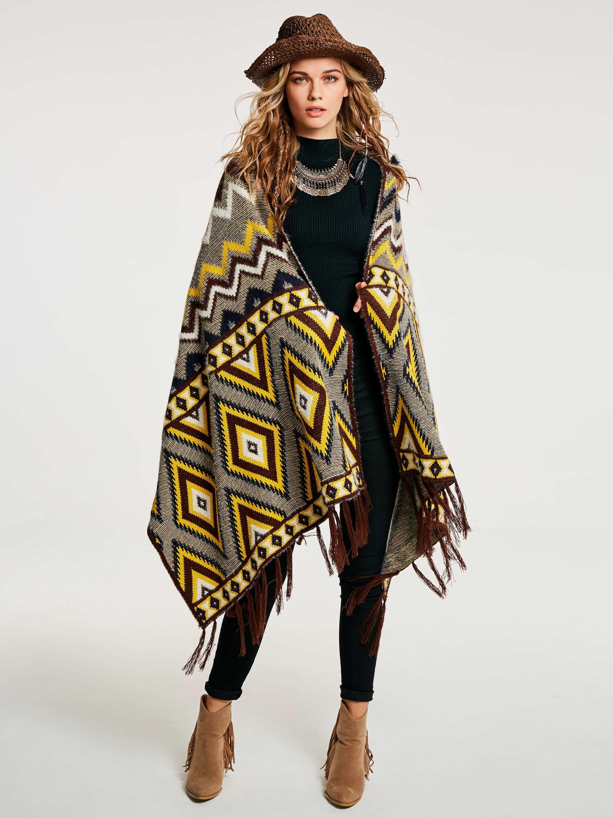 d972343ac5 Color Block Geometric Pattern Wrapped Women's Cape | Jackets / Coats ...