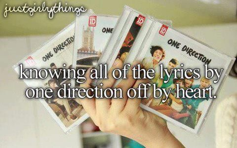 Knowing all the lyrics by heart <3