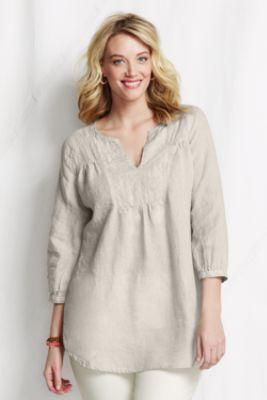 c87178beeac3b Women s Plus Size Yoke Front Linen Splitneck Tunic Top from Lands  End
