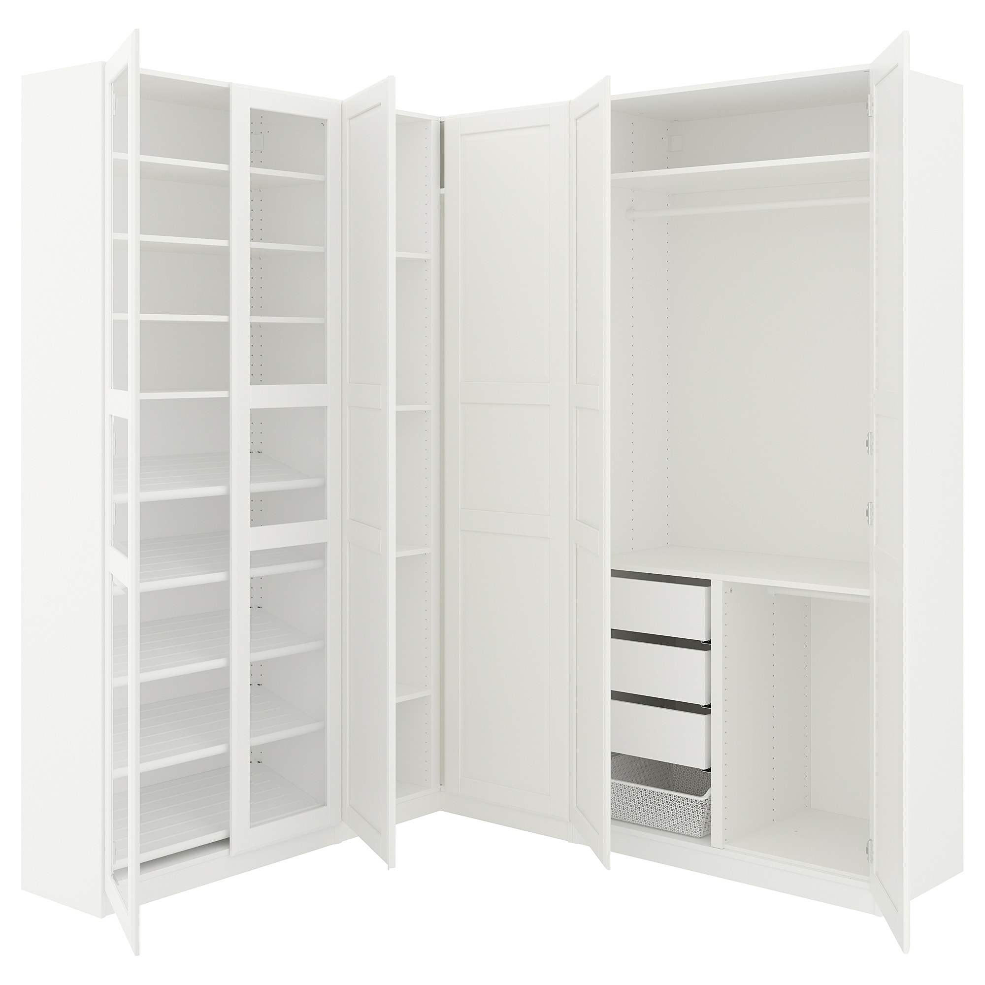 Armoire D Angle Dressing pax armoire d'angle - blanc tyssedal, tyssedal verre 210