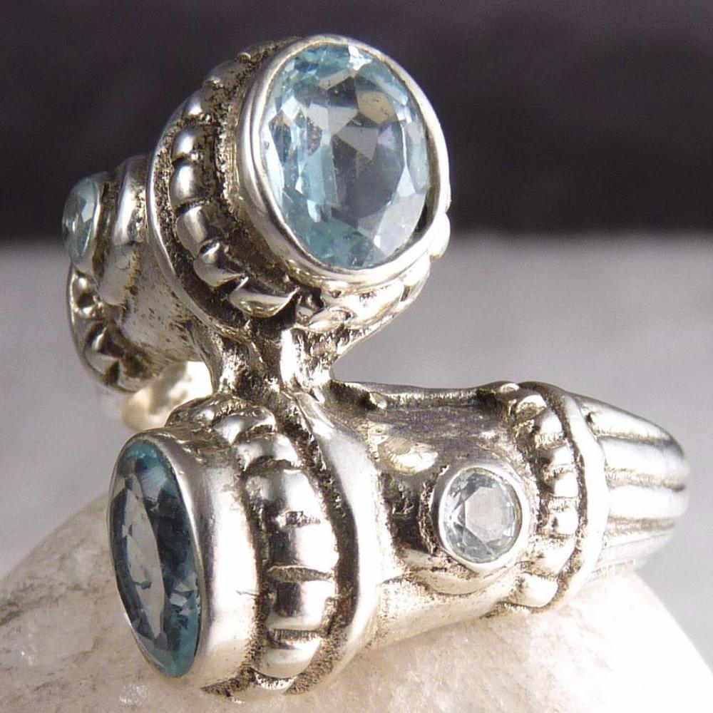 US 6 1/2 ~ 925 Sterling Silver ~Solid SILVERSARI Quad Gemstone Ring~ BLUE TOPAZ  #silversari