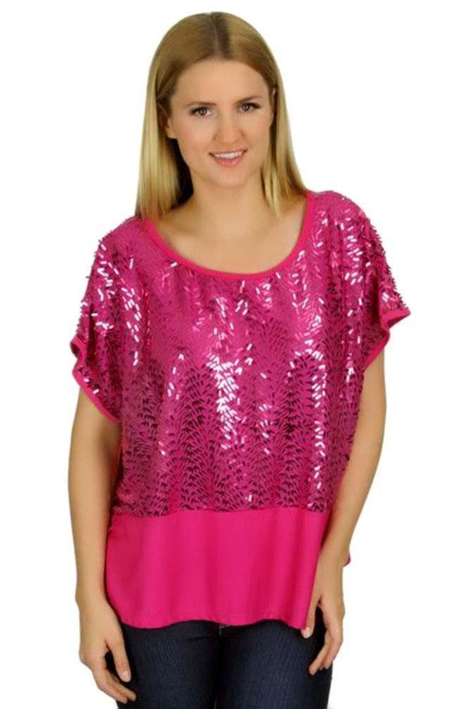 Fuchsia Hot Pink Solid Sequin Oversize Dolman Sleeve Top