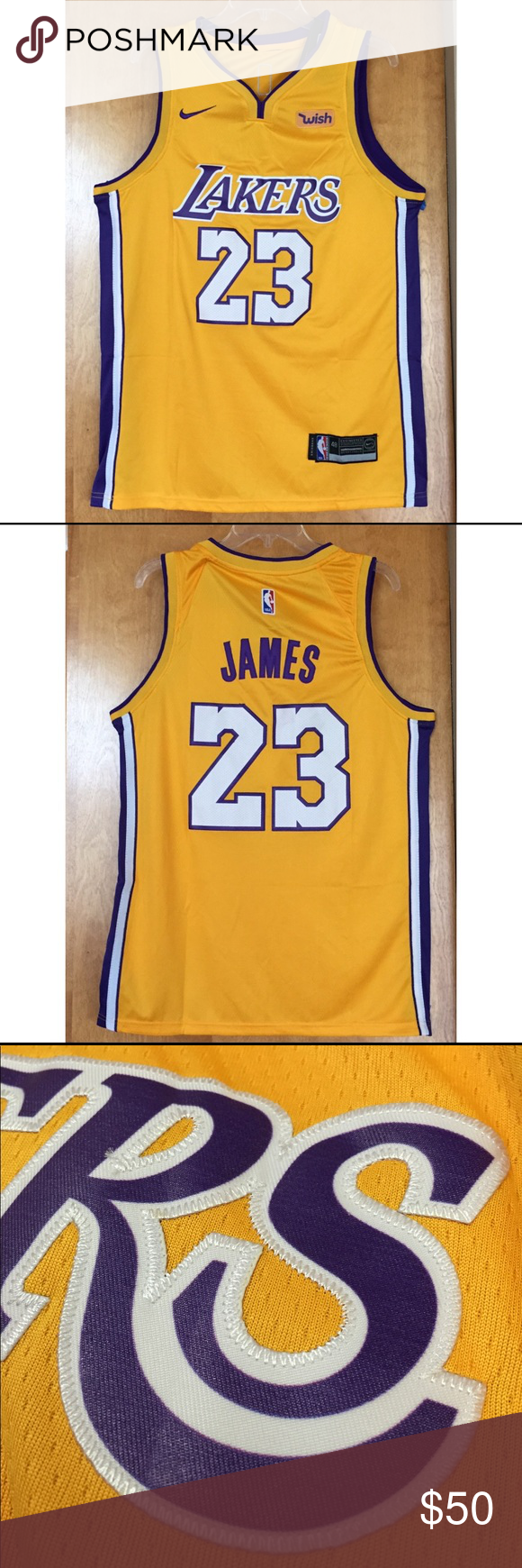 895ecfd562b 100% STITCHED LEBRON JAMES LAKERS GOLD JERSEY 100% stitches LeBron James  Los Angeles Lakers jersey. Ready to ship immediately after purchase.
