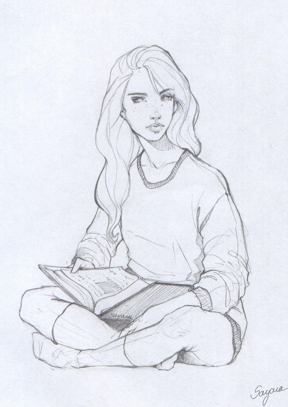 Reading Girl By Sayara S On Deviantart Girl Reading Book Character Design Book Drawing