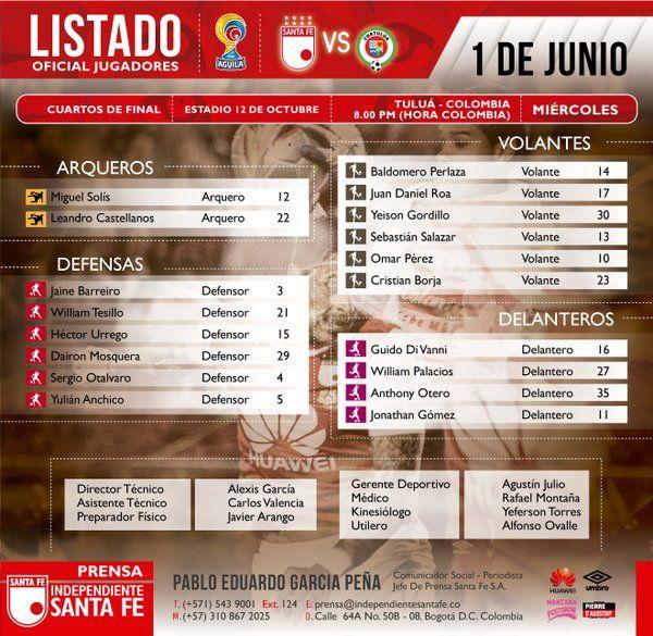 RT @SantaFe: 💼 Listado de viajeros rumbo a Tuluá para enfrentar la ida de cuartos de final de la @LigaAguila 2016-I https://t.co/HfpcWSun2n