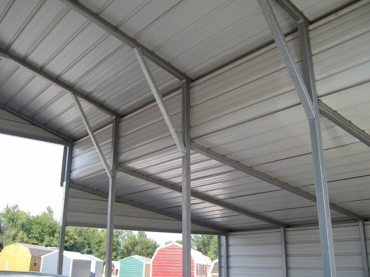 See these metal buildings with carport attachments. # ...