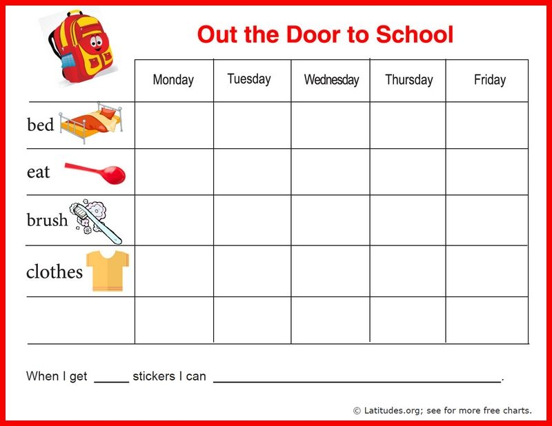 FREE Reward Chart (Out the Door to School - free printable t chart
