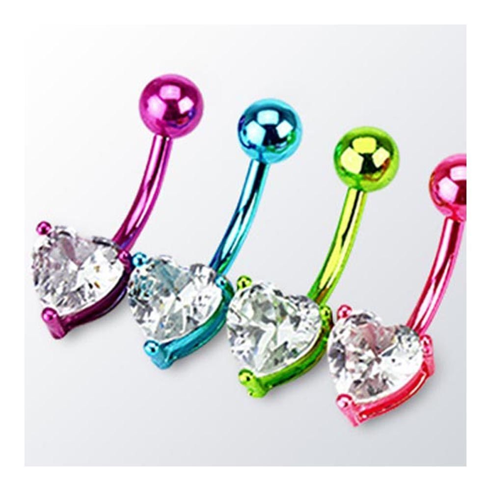 Long belly piercing  Neon Color Plated Surgical Steel Navel Belly Button Ring Heart Prong