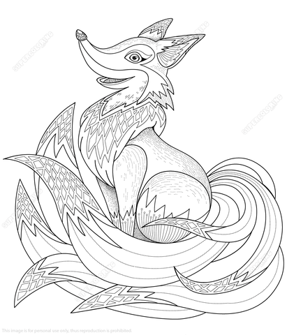 Adorable Fox Zentangle Coloring Page From Category Select 24848 Printable Crafts Of Cartoons Nature Animals Bible And Many More