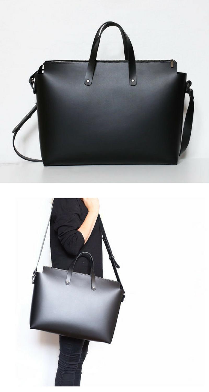 5aeabda8cd I love this big black leather shoulder bag. It s minimalist design makes it  elegant and