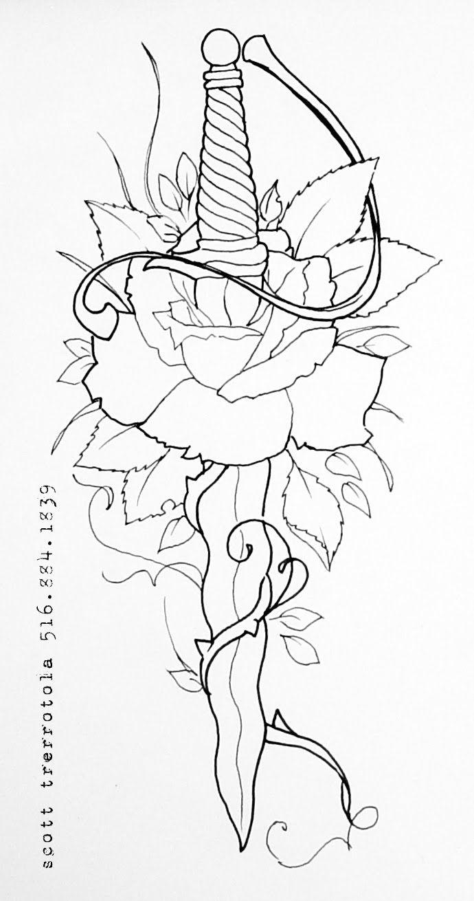Dagger Tattoo Outline: Rose N Dagger Tattoo Sample