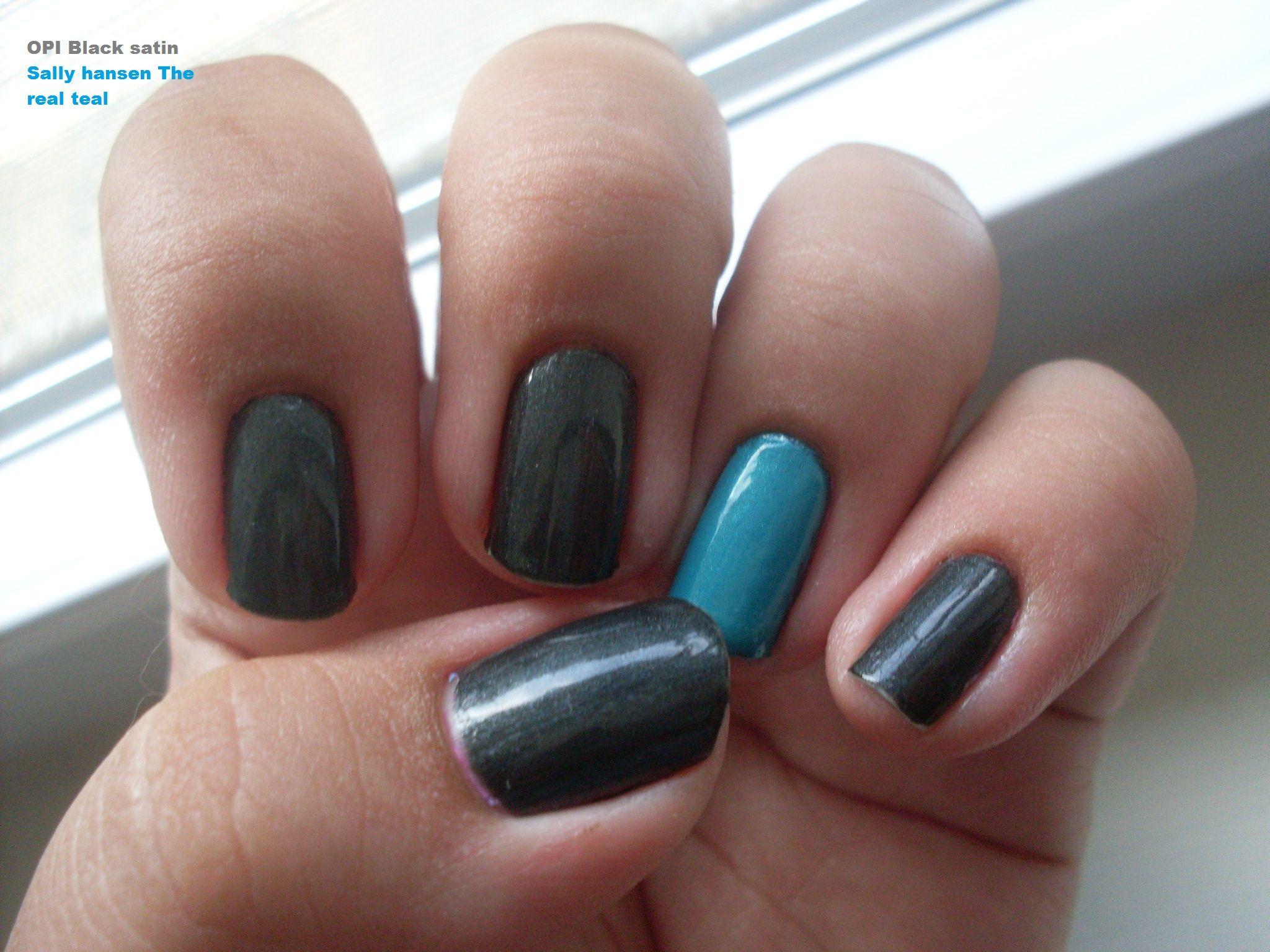 Dark grey nails with teal accent nail   Nails   Pinterest   Dark ...