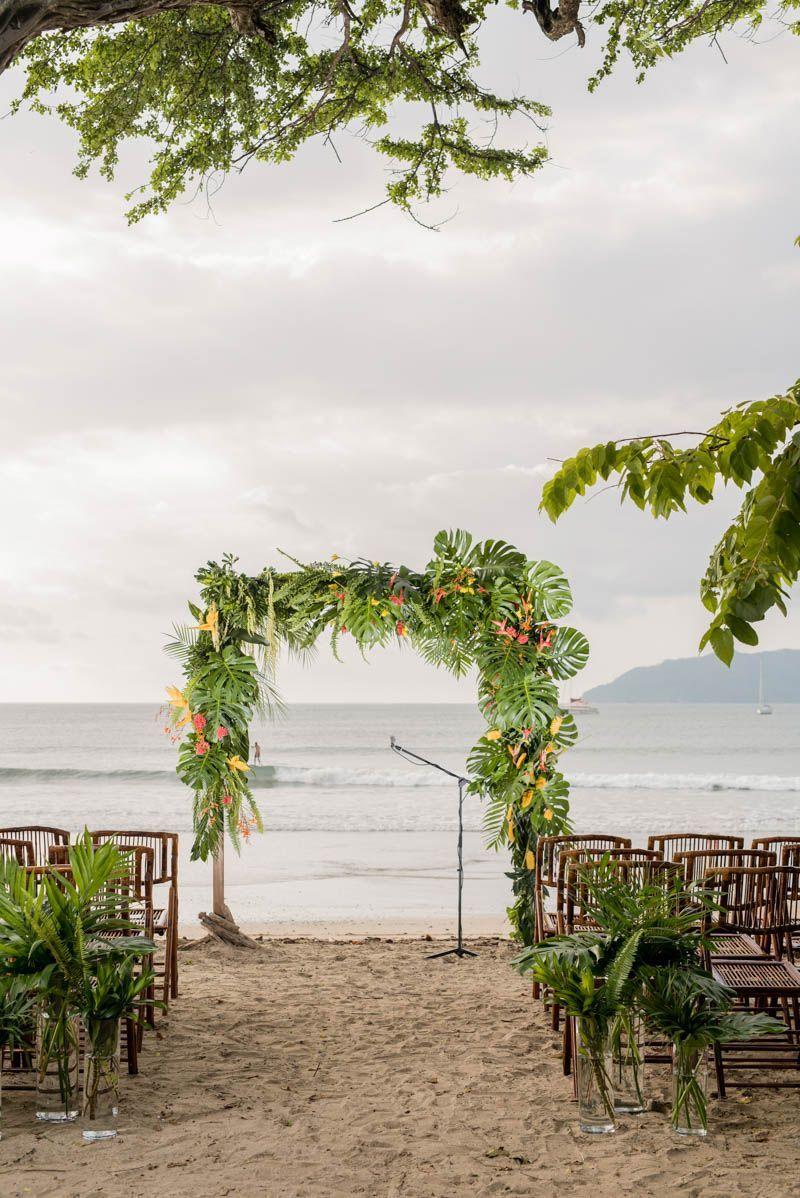 A colourful tropical beach wedding in costa rica beach theme