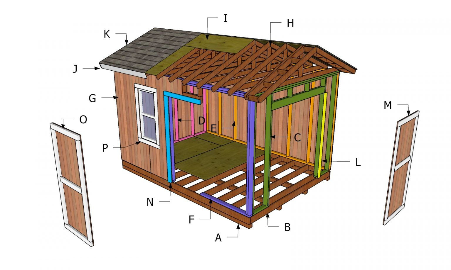 10x14 Gable Shed Roof Plans Howtospecialist How To Build Step By Step Diy Plans In 2020 Diy Plans Roof Plan Shed Plans