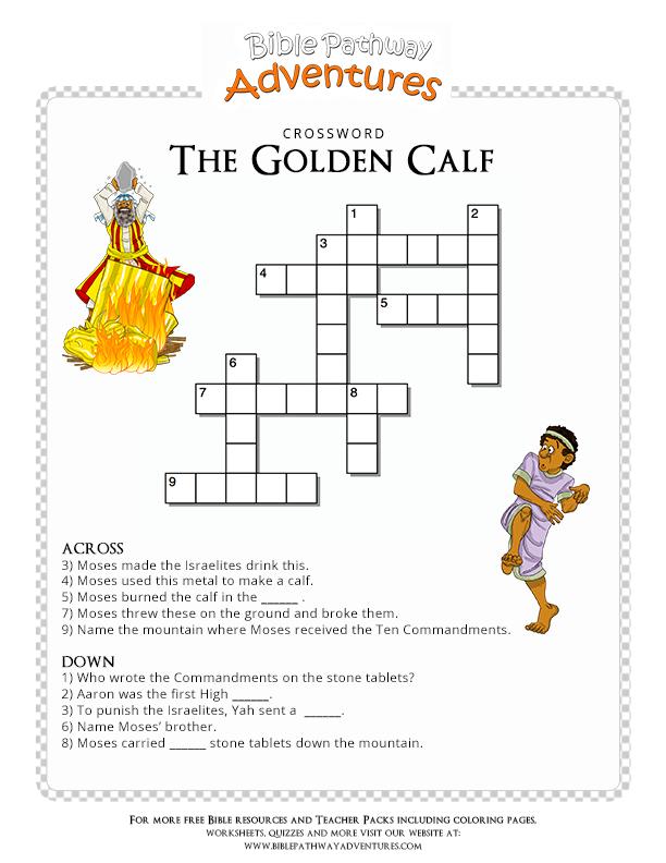 Bible Crossword Puzzle The Golden Calf Golden Calf Bible And Sunday School