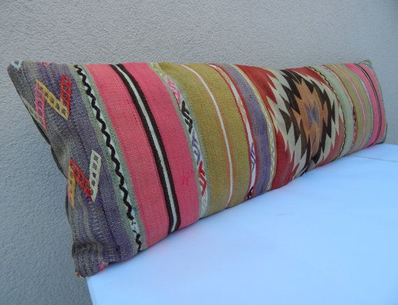 Turkish Kilim Bedding lumbar decorative pillow cover Bolster Long Cushion 4byf-414 35x120 cm King size pillow cover 14x47 inch