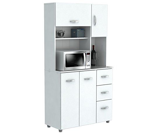Inval America 4 Door Storage Cabinet With Microwave Cart Laricina White Http