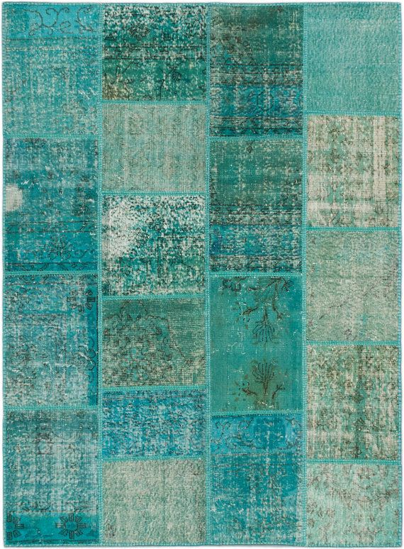 Turquoise Turkish vintage patch rug by kordestanicollection