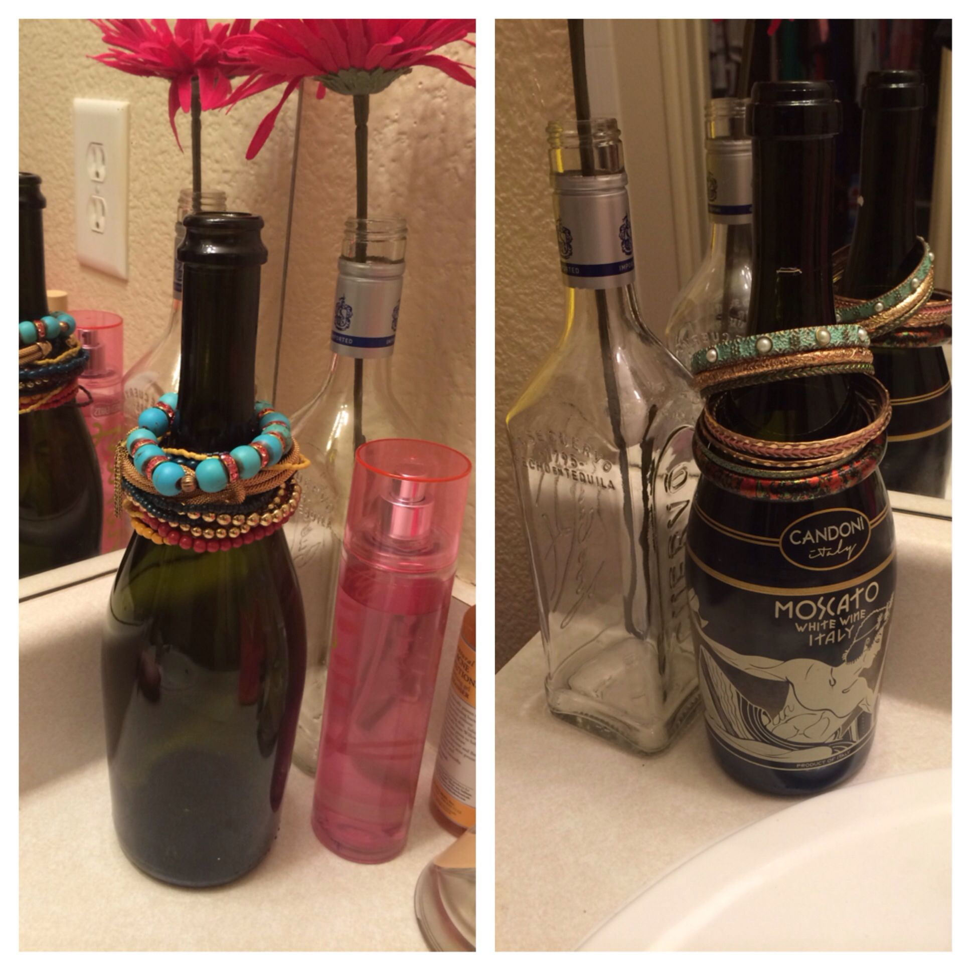 I used wine bottles as bangles and watch holders recycle DIY