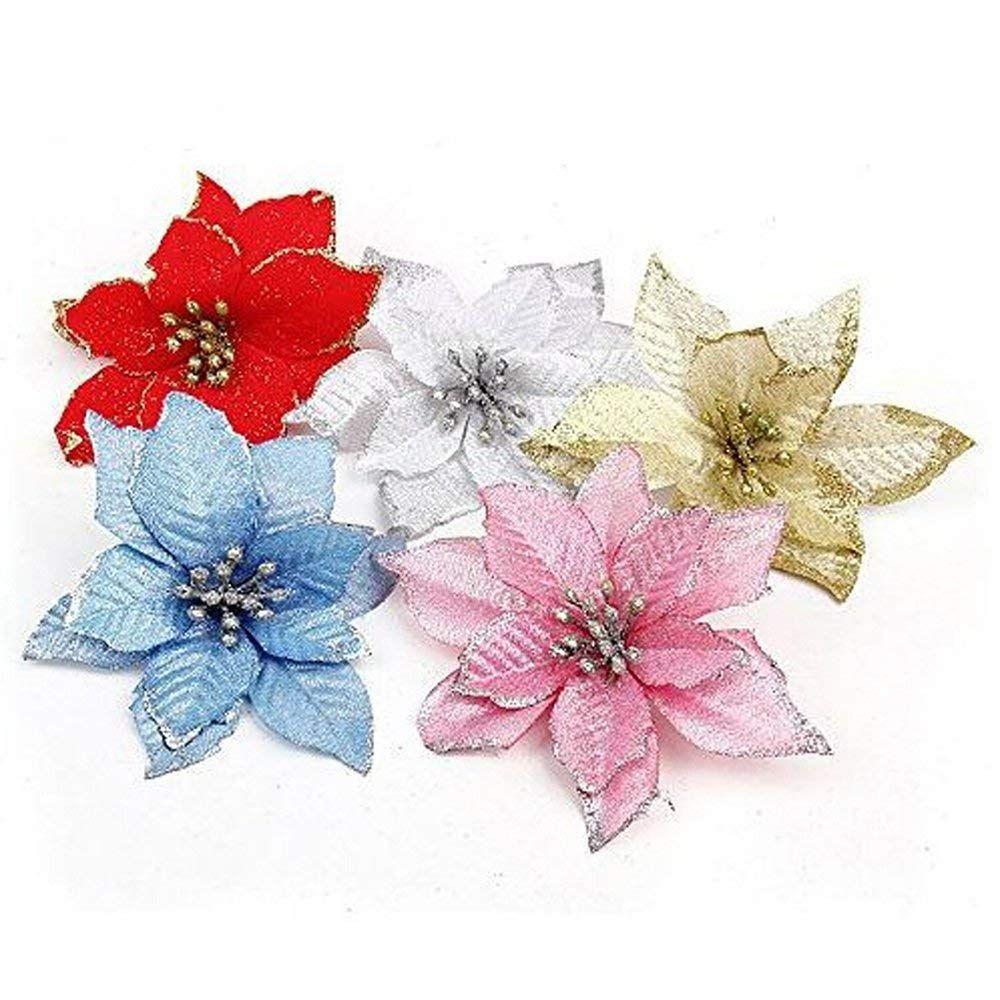 10 Pcs Glitter Poinsettia Flower Christmas Wreath Tree Decorations Xmas Gift