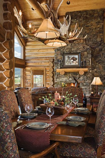 Handcrafted Log Homes » Teton Springs Log Home » Teton Springs Dining Room.  I Want Those Chairs, Just Different Fabric