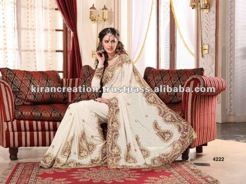White Wedding Saree, White Wedding Saree Suppliers And
