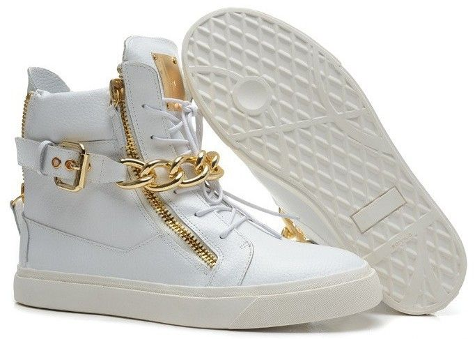 $67 - 2014 giuseppe gz high top sneakers, Real leather golden chain & zipper decoration men women brand sneakers