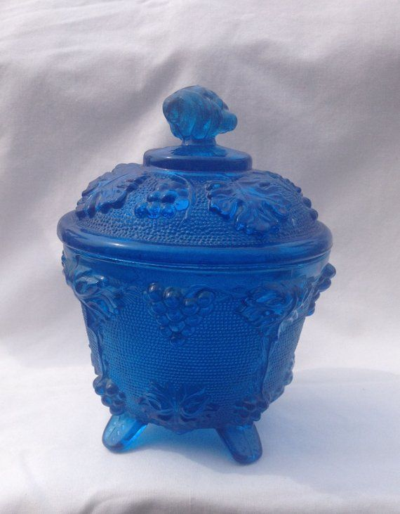 5eac12fc34c4 Vintage Jeanette Glass Blue Grape Vine Pattern Footed Candy Dish With Lid