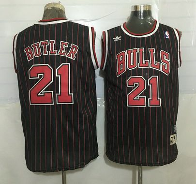 e69b2d3e ... Mens Chicago Bulls 21 Jimmy Butler Black Pinstripe Hardwood Classics  Soul Swingman Throwback Jersey ...