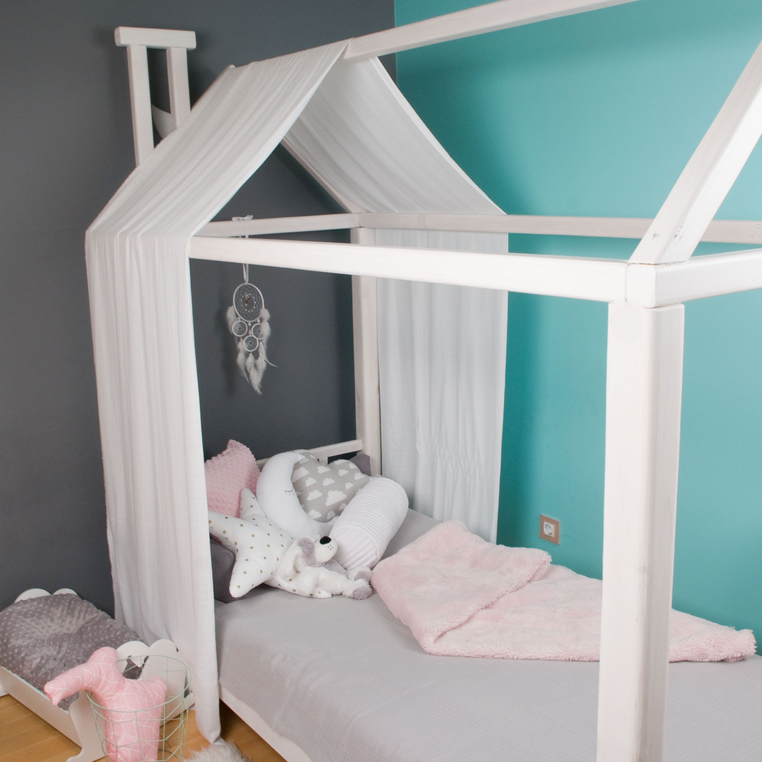 Muslin CANOPY for Frame bed Montessori House baldachin bed