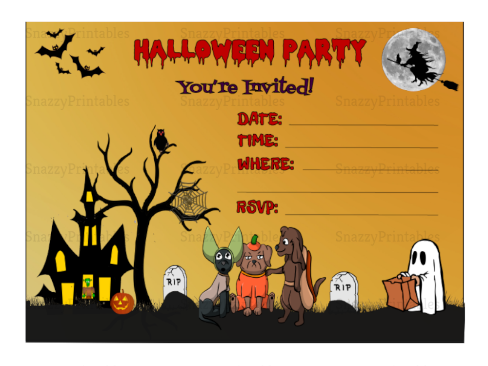 Halloween Party Invitation Printable 1 Instant Download
