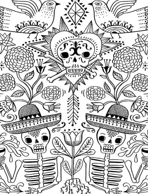 coloring book day of the dead - Day Of The Dead Coloring Book