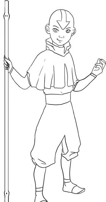 I have download Avatar Aang Pulled Out A Wand Coloring Page ...