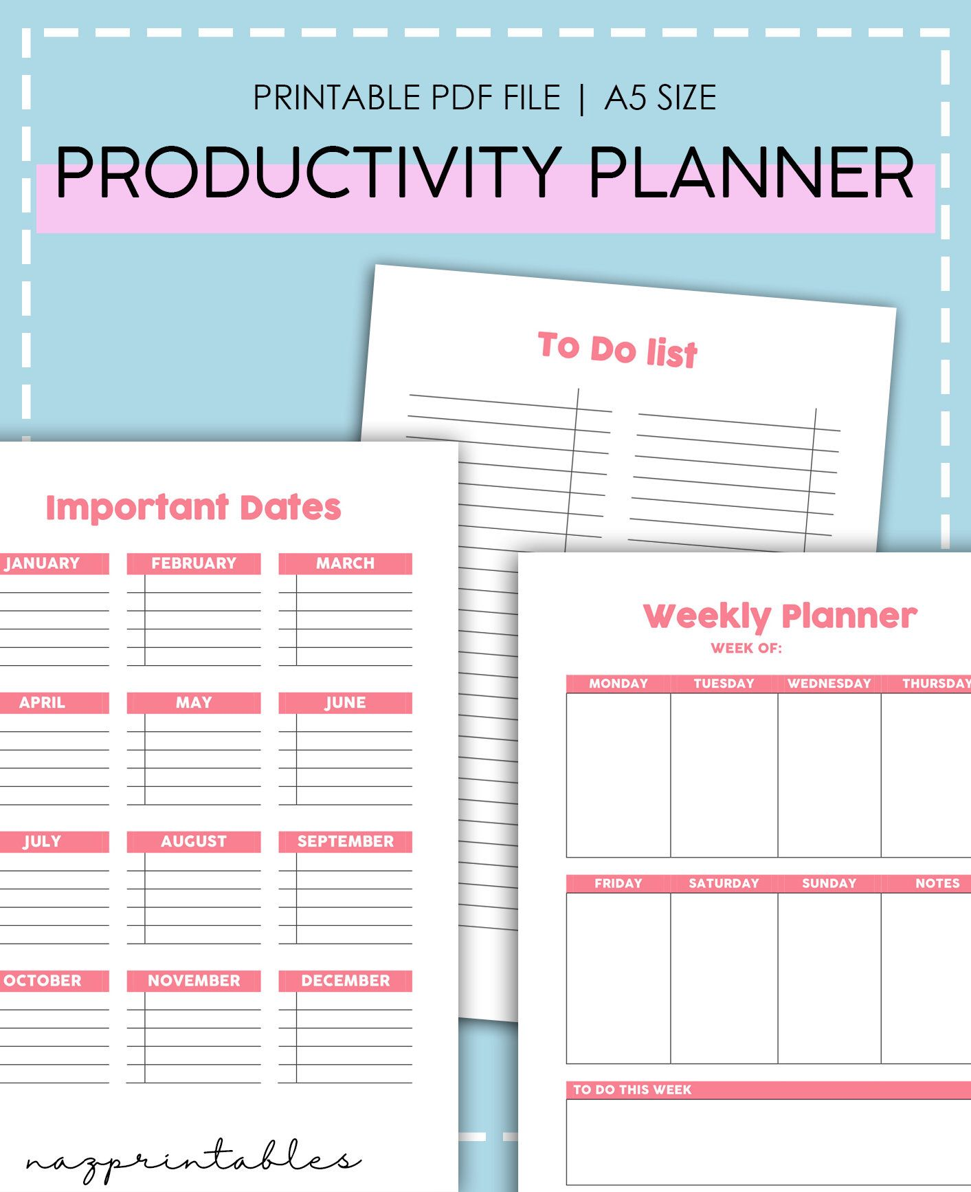 Productivity Planner 2019 Printable Planner Monthly Planner