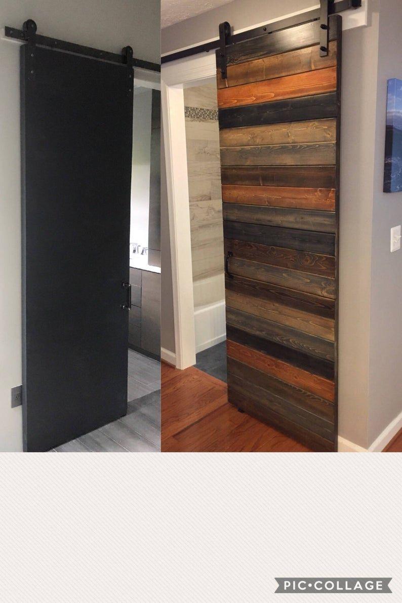 Custom Multi Stain Horizontal Plank Sliding Barn Door Barn Door Plank Door Family Room Remodel