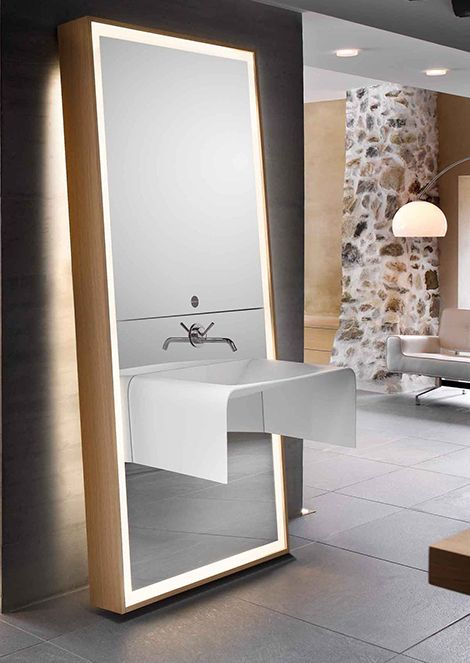 all in one mirror, sink, faucet and lighting. clean