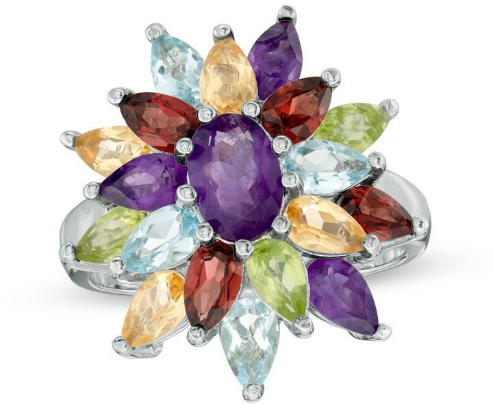 Zales Multi-Gemstone Cluster Ring in Sterling Silver