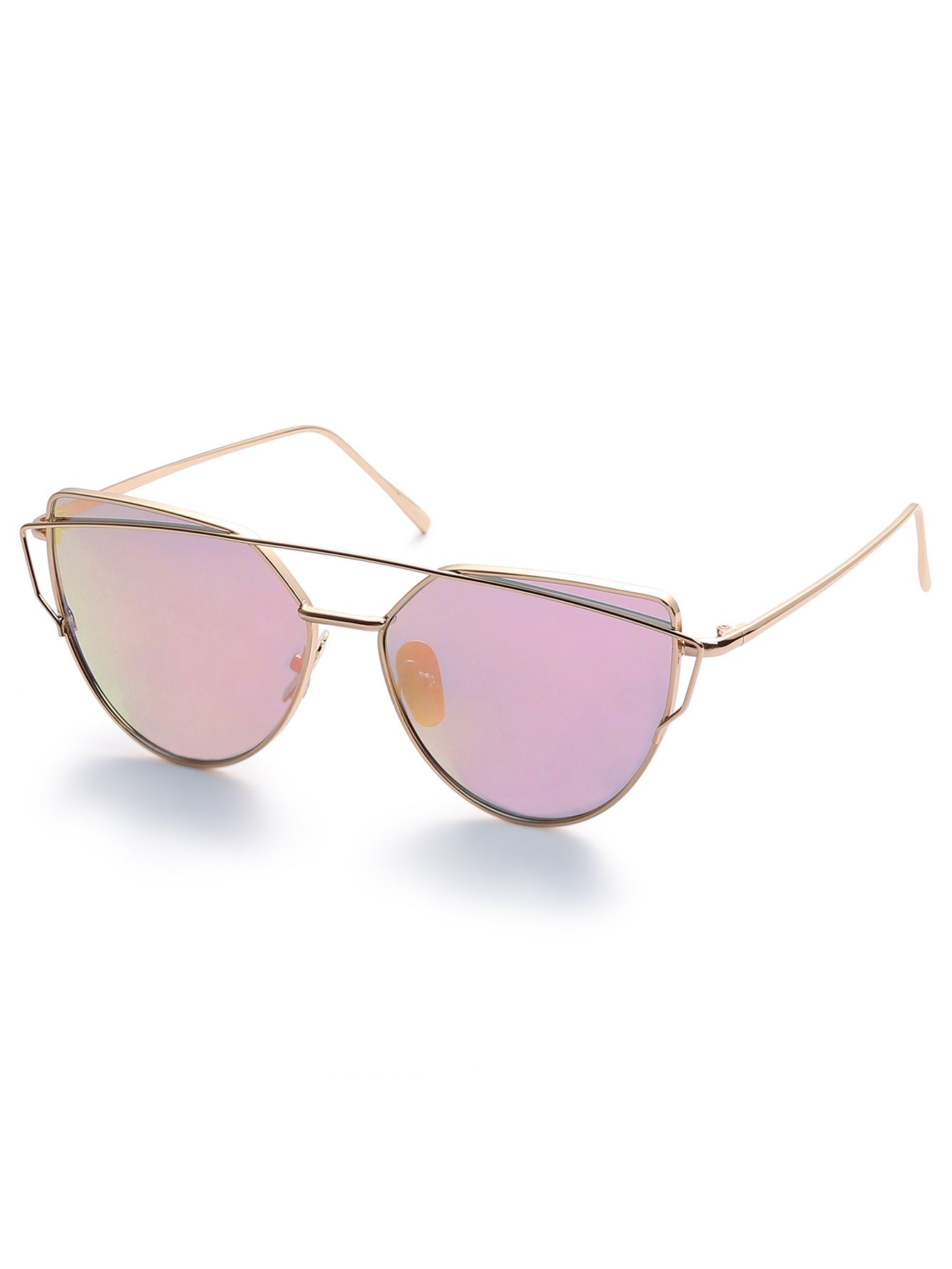 2533db05ff Gold Metal Frame Double Bridge Pink Lens Sunglasses